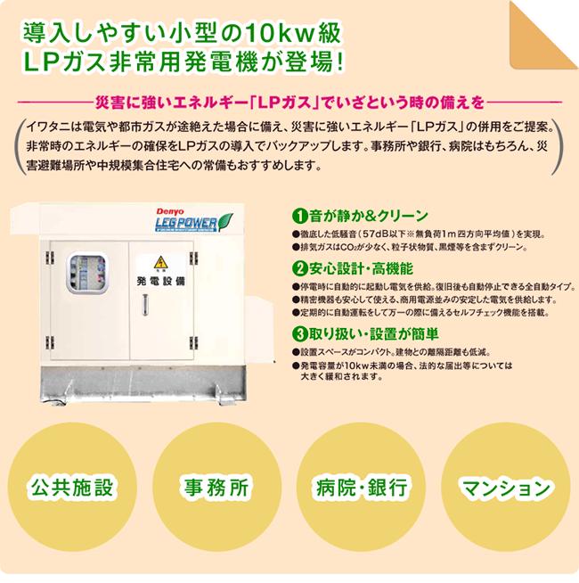 小形の10kw級LPガス非常用発電機が登場