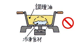 冷凍食材をなべの底面中央に密着させた状態で揚げものをしないでください